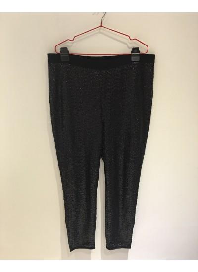 大尺碼女孩經典黑色亮片修身長褲