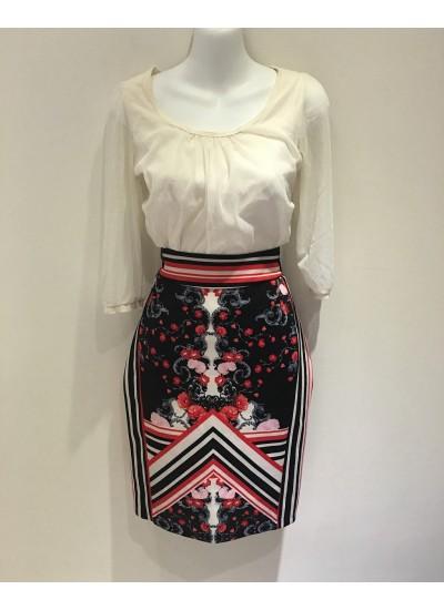 宮廷花色伸縮長版窄裙