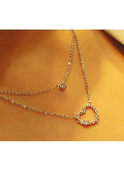 Adamsammi生活賣場/閃亮滿鑽雙層愛心鑲鑽項鏈