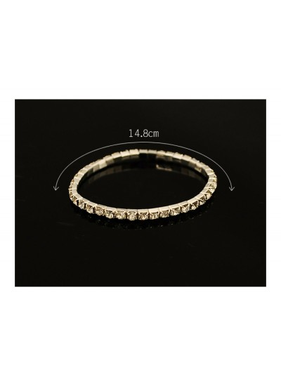 璀璨銀色單排閃鑽手環