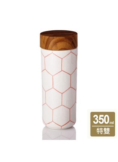乾唐軒活瓷   六稜紋隨身杯 / 大 / 特雙 / 牙白橘 / 仿木紋蓋