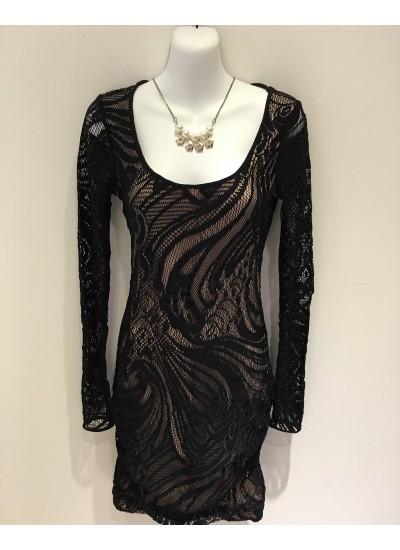 名媛時尚修身彈性蕾絲洋裝