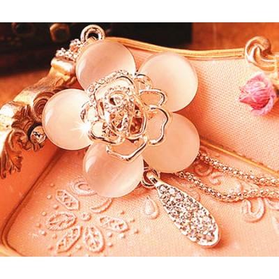 Adamsammi生活賣場/氣質時尚貓眼石玫瑰花鑲鑽項鍊