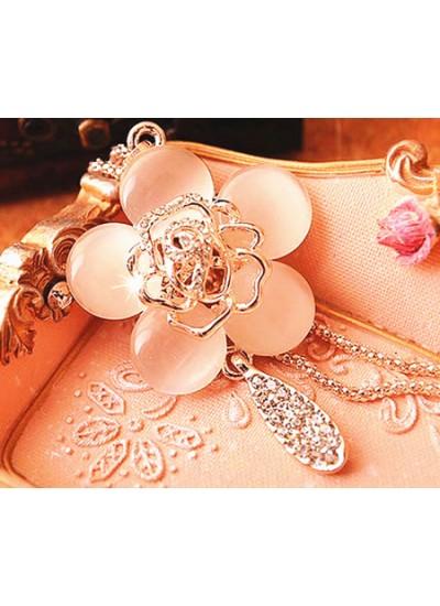 氣質時尚貓眼石玫瑰花鑲鑽項鍊