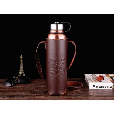 Adamsammi生活賣場/大容量1500ML 304不銹鋼 真空保溫壺+皮革杯套